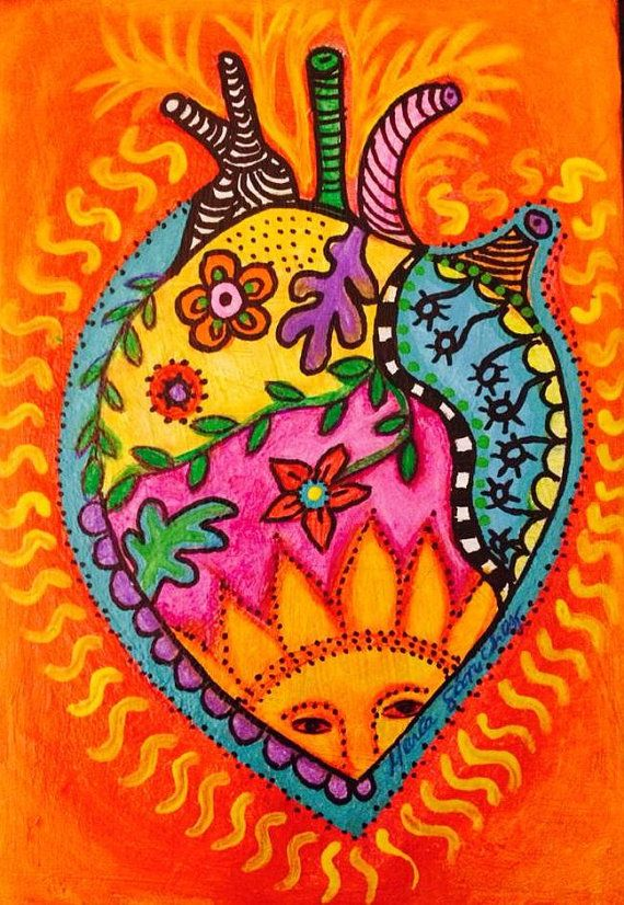 Valentines Day heart painting folk art Mexican by sandiafria