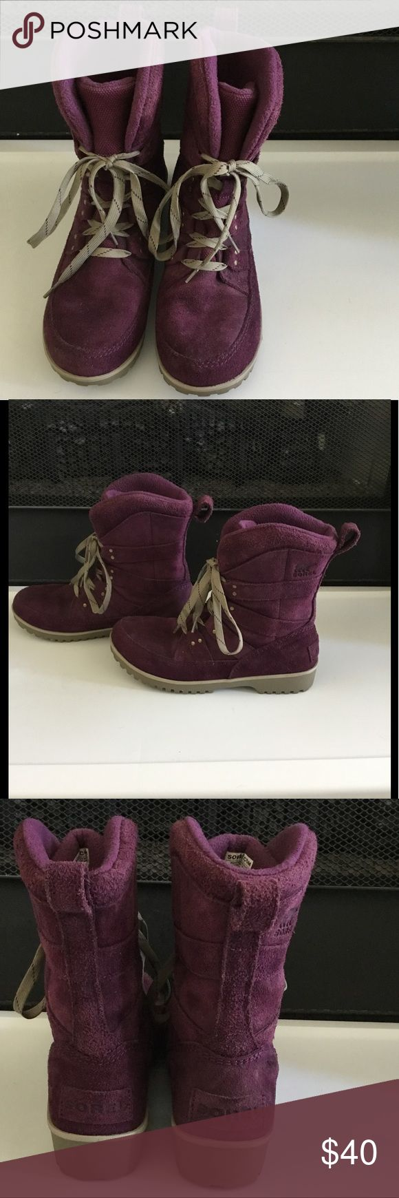 Sorel Snow Boot Waterproof Sorel snow boot. They have a purple water treated sued upper.  These boots are a great lower cut snow boot. The boots are not heavily lined so you would want to wear a heavier sock on colder days. They have been worn a bit, but are still in nice condition. Sorel Shoes Winter & Rain Boots