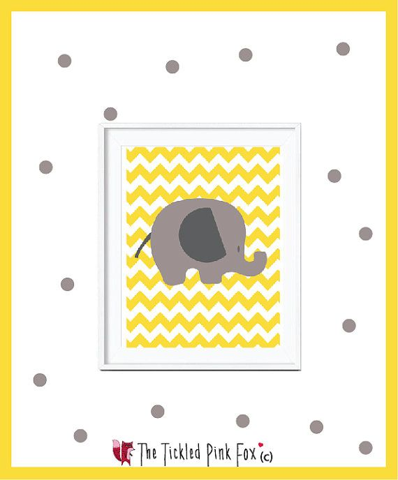 Yellow sunshine elephant chevron poster by thetickledpinkfox