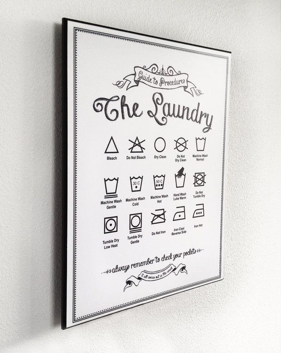 Ready-to-Hang 'Guide to Procedures: The Laundry' - 11x14 Wood Sign - Symbols, Rules, Sign, Vintage, Art, Chalkboard, Gift, Housewarming