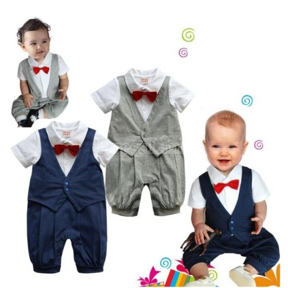 Romper One-Piece Boy's Gentleman Waistcoat + Red Tie Baby Climb Clothes Outwear