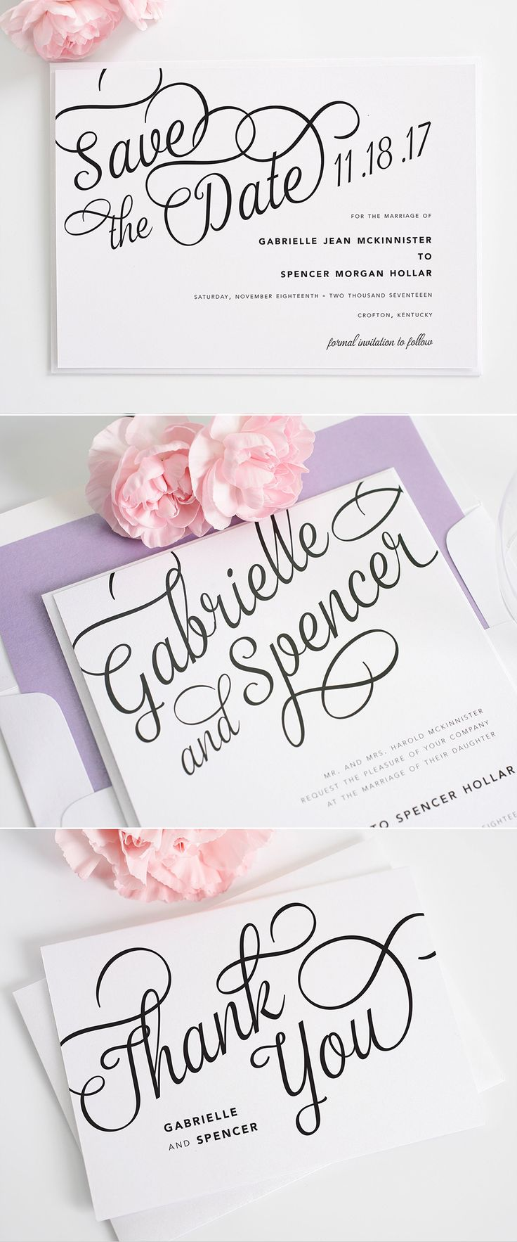 Beautiful script wedding invitations with matching save the dates and thank you cards from Shine Wedding Invitations. http://www.shineweddinginvitations.com/wedding-invitations/statement-script-wedding-invitations