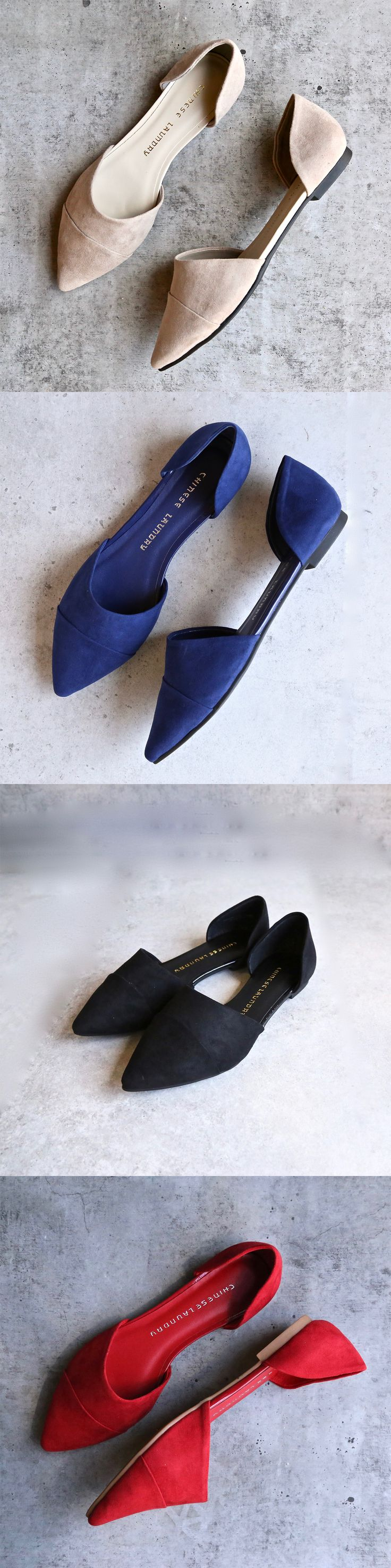 """- Textile - Imported - Synthetic sole - Heel measures approximately 0.25"""" - Slip-on flat featuring pointed toe and d'Orsay silhouette"""