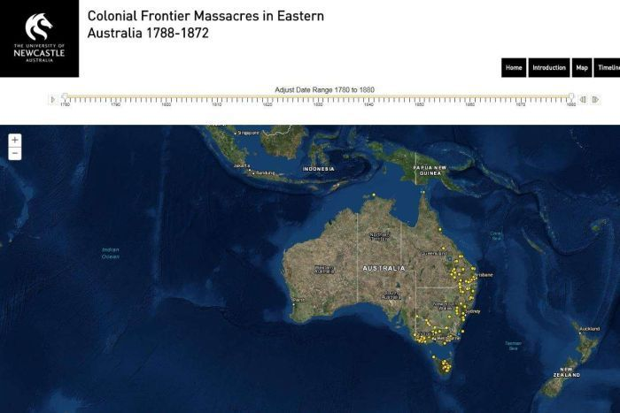 New map records massacres of Aboriginal people in Frontier Wars -After years of painstaking research, an online map marking the massacres of Aboriginal clans across Australia's colonial frontier has launched.