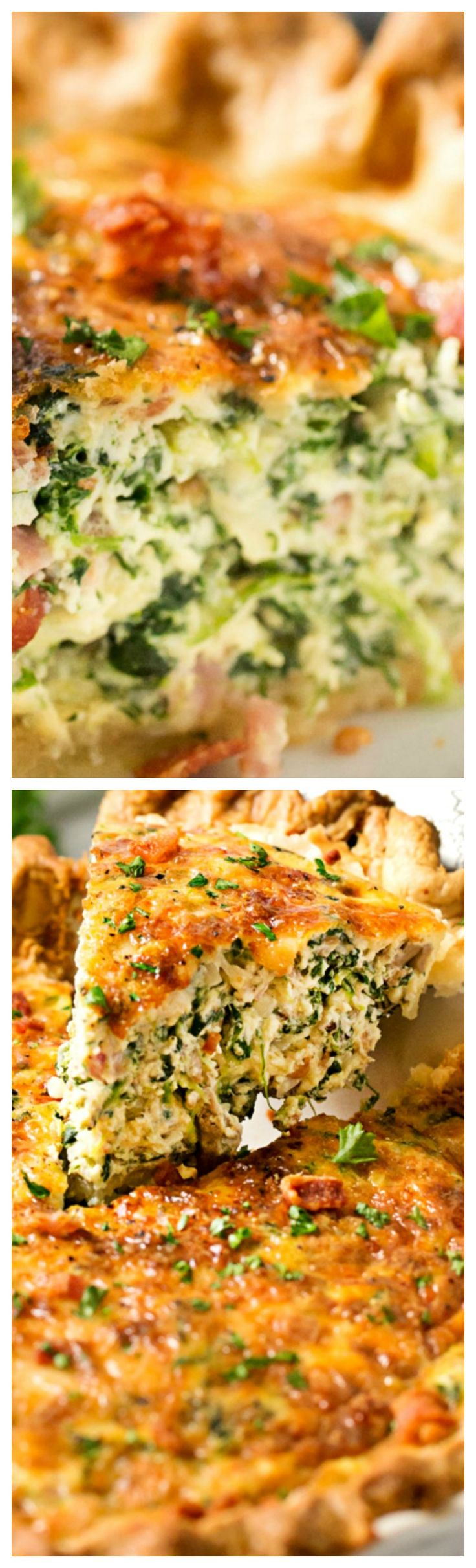 Basic Cheesy Spinach Quiche with Bacon ~ This easy quiche is loaded with spinach, ham, bacon, caramelized onions, mushrooms and Gruyere... No complicated dinner here, it uses frozen pie crust!