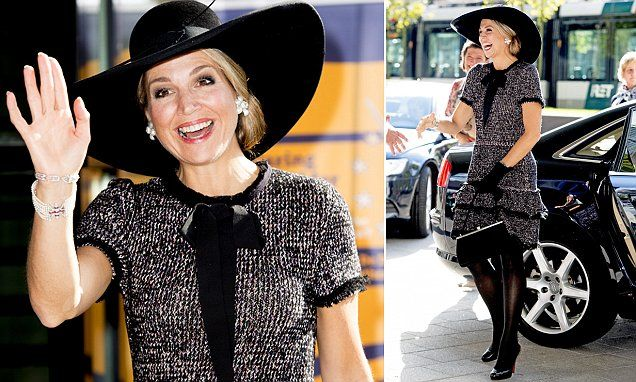 Dressed to frill! Queen Maxima wears a ruffled wool dress in Rotterdam