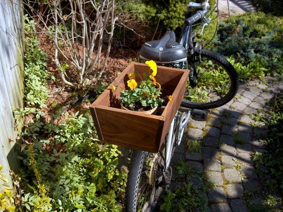 Wooden bike basket $105
