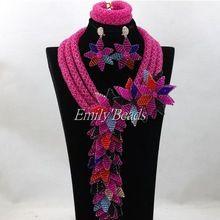 Nigeria fucsia perlas de color rosa de la joyería de la india joyería nupcial conjunto de la boda africana Beads Necklace Set envío gratis ALJ141