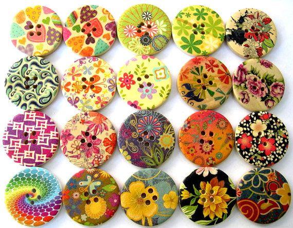 20 Wood buttonsColors Flower, Colors Buttons, Orit Dotan, Wooden Colors, 20 Wood, Wood Buttons, Buttons Orit, Floral Buttons, Wooden Buttons