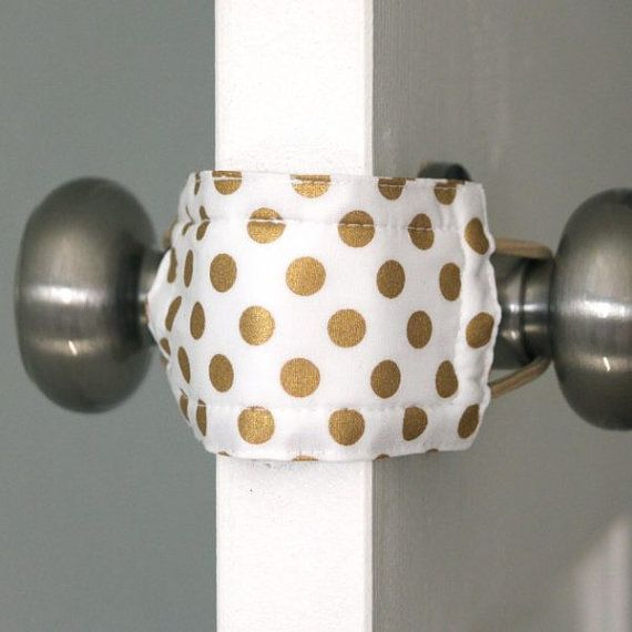 Goldie Dot Door Latch Muffler baby nursery door by latchycatchy