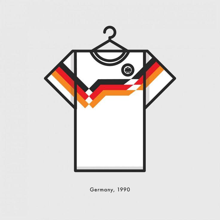 World Cup Minimal Football Kits Germnay 1990 Illustration | Lucas Jubb Design & Illustration