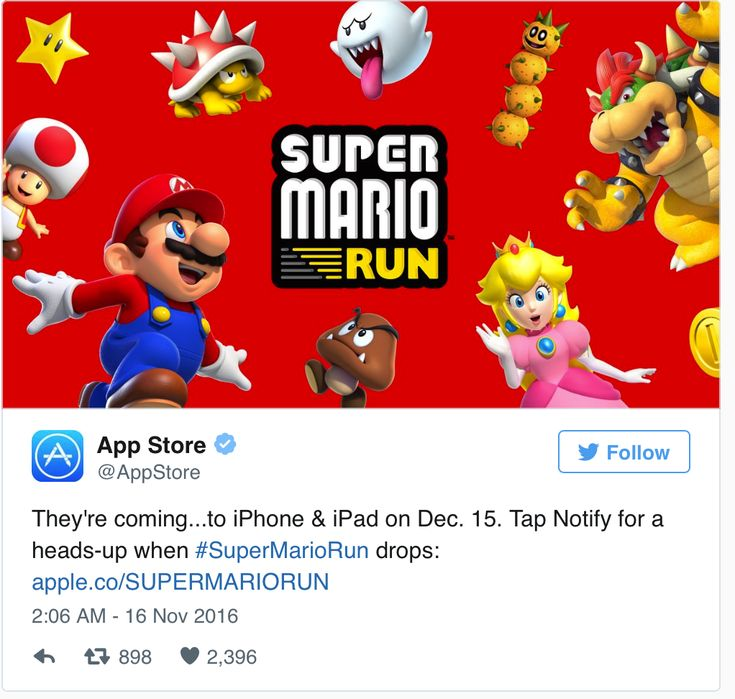 «Super Mario» est de retour et pour la première fois, sous forme de jeu mobile. «Super Mario Run,» comme ses prédécesseurs, ce jeu raconte les aventures du plombier italien Mario dans le Royaume Champignon fictif. Mario est le personnage principal, mais il est aussi...  http://www.socialbuzz.fr/super-mario-run-rumeurs-date-de-sortie-sera-t-il-le-jeu-mario-best-seller/