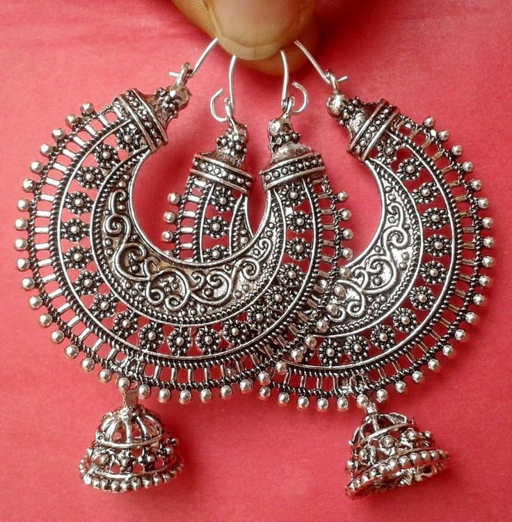 Vintage Ethnic South Jewelry Silver Tone Oxidized Indian Earrings Jhumka Jhumki #36garhiart #Hoop