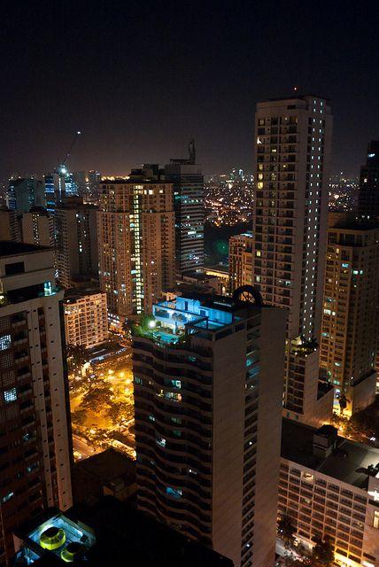 Manilas makati buildings at night  - Philippines