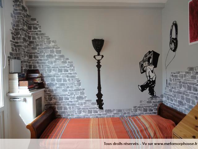 chambre d'ado garçon moderne/design urbain gris noir