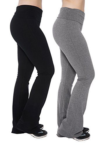 572e5305d007e Womens Yoga Pants Fold Over Waistband Flared Boot Leg Active Black and Grey  Leggings, 2 Pack, Large
