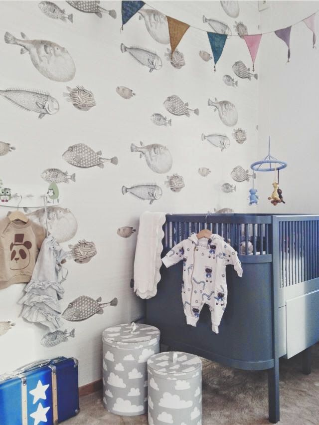 Fish Wallpaper Blue Hues In This Kids Bedroom