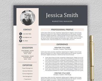 Modern Resume Template   Professional Resume Template for Word and Pages   1, 2 and 3 Page Resume Template, Cover Letter   Instant Download by LandedDesignStudio