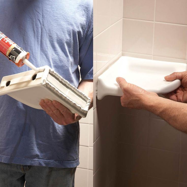 DIY corner shelf installation tips - you can add them right onto existing tile in the shower. No fancy tools required.