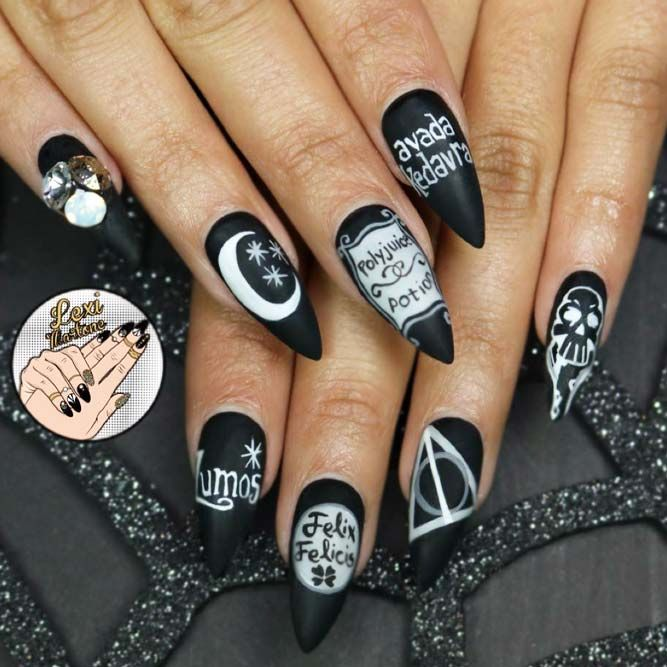 24 Best Harry Potter Fan Art Nails Put A Spell On Your Manicure Mong Tay Mong Tay Nghệ Thuật