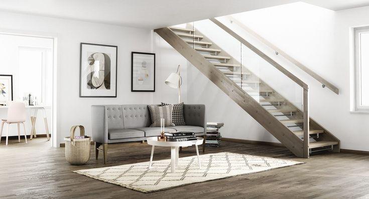 Foss gir deg skandinavisk minimalisme i trappeform. Denne trappen fungerer for deg som er klar på hvilket uttrykk du ønsker i hjemmet og vil komplementere dette tydelig. Kombinasjonen av glass og treverk gir en følelse av letthet og åpenhet. La trappen beholde sin maskulinitet ved å velge barnesikrings- list i stål.