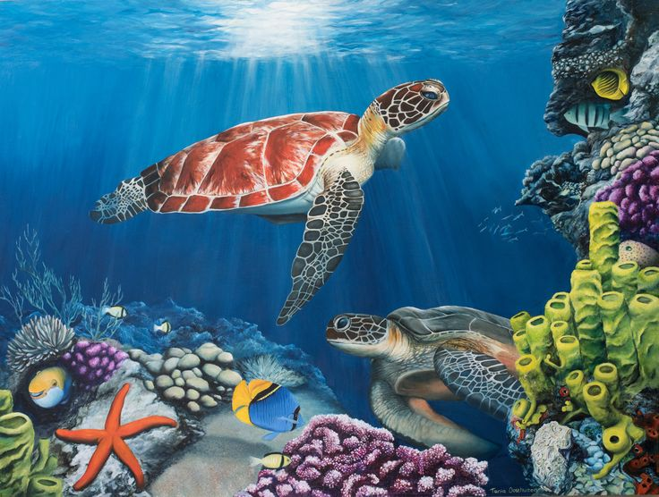 www.realistic-art-gallery.com  Sea turtles at play