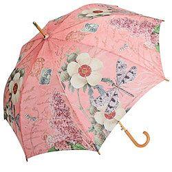 Modern vintage dragonfly automatic open cane stick umbrella nwt coynes