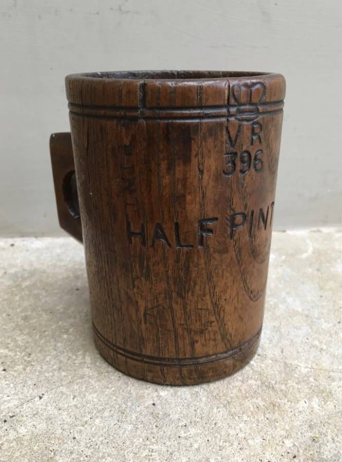 Rare Victorian Carved Oak Half Pint Seed Measuring Cup