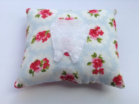 Tooth Fairy Pillow in Rose Print Fabric by BellaandRoo on Etsy