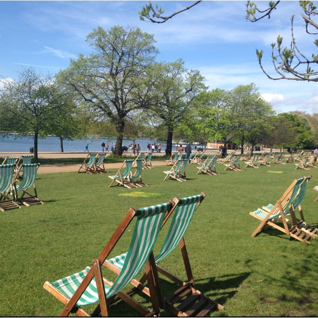 Hyde Park, London - just don't sit in the chairs.  Tourist mistake.