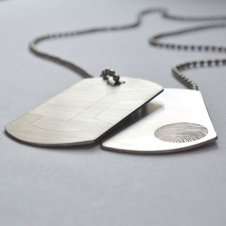 Steel dogtags with fingerprint and initials