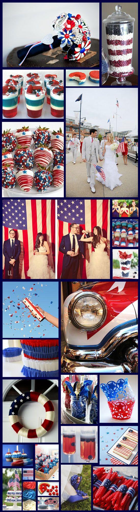 Inspiration Board: USA Themed Wedding! #RedWhiteBlue #July4Wedding  www.RadiantSkin.Rocks