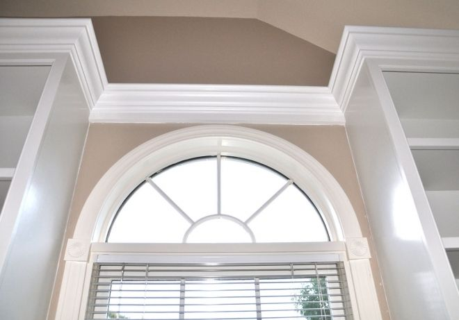 Crown Molding Over Arch Windows Google Search Bookshelves Built In Window Crown Moldings Crown Molding