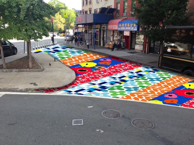 Urban renewal in the Bowery NYC: chalk paint the carpark, slowly reclaim it