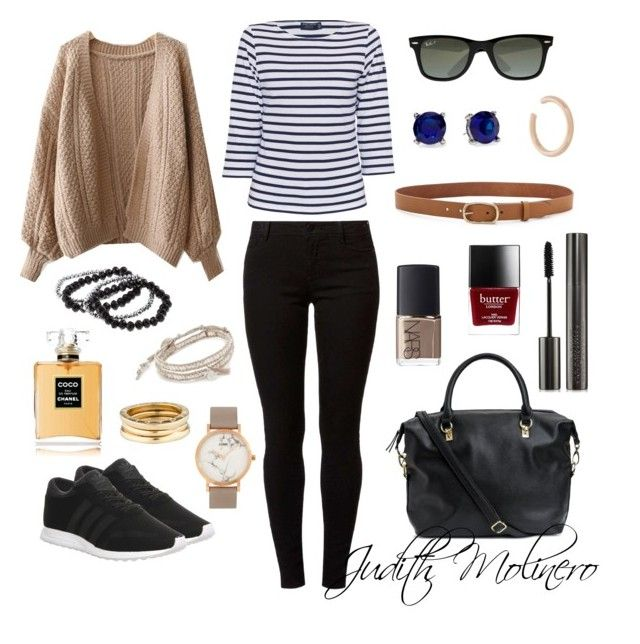 """""""Easy classic cosy"""" by judith-molinero-fashion on Polyvore featuring WithChic, Saint James, Dorothy Perkins, adidas, H&M, Ray-Ban, CLUSE, Alexa Starr, Chan Luu and rag & bone"""