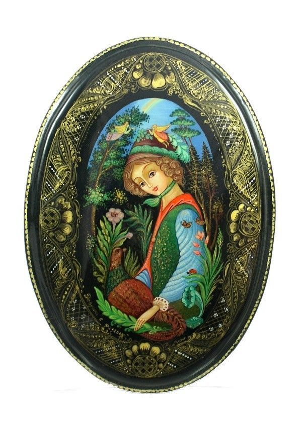 Palekh Russian Lacquer Box B3671 Girl with Pheasant | eBay