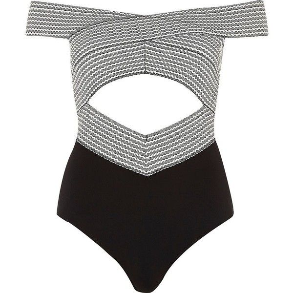 River Island Black bandage bardot cut out swimsuit ($70) ❤ liked on Polyvore featuring swimwear, one-piece swimsuits, swimsuits, striped one piece swimsuit, tall one piece swimsuit, swim wear, striped swimsuit and striped bathing suit