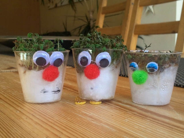 we made these... CRESS PEOPLE... glue googly eyes + pompom noses onto plastic shot glasses, then place cotton wool into the plastic shot glasses + wet it with a little water, sprinkle some mustard cress seeds on top of cotton wool... dont let them dry out + in a couple of days they'll need a haircut! this craft was v popular with the kids.
