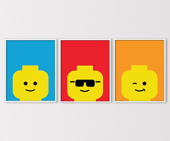Set of 3 minimal Lego face prints! These prints would look great in any kids room, nursery, or play room, and can be customized to match any