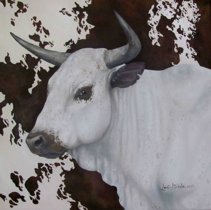 3. Royal Cattle (BLESSING),  [ Item 'C' of Royal Cattle Collection] oil on canvas by Landi-Michelle van den Berg