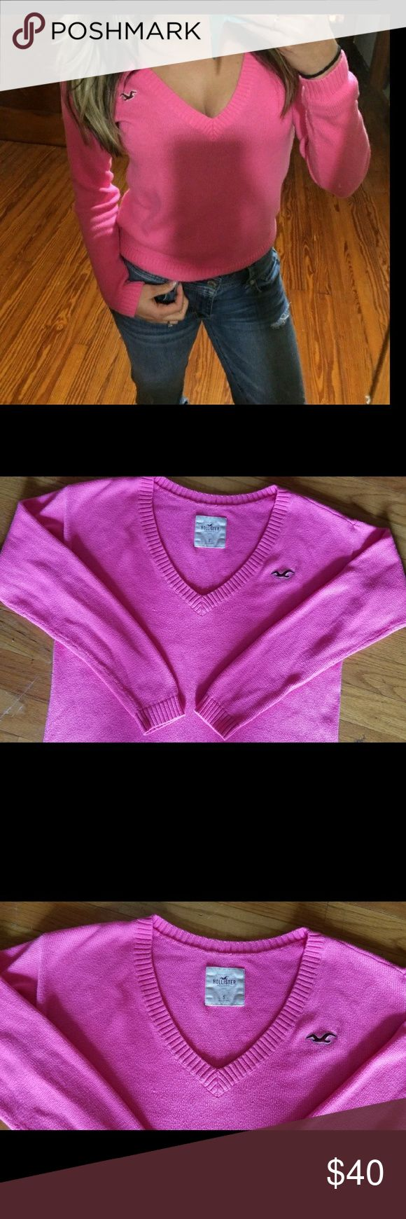 Hollister v-neck light sweater/sz.S Can go less through Pay??al or Merc ----  Gorgeous Hollister v-neck sweater in a beautiful pink color!! in like new condition!! size small. ....It's a very light sweater not heavy at all! Perfect for spring:))  Also Victoria Secret freebies with any purchases from my closet! All brand new???? Hollister Sweaters V-Necks