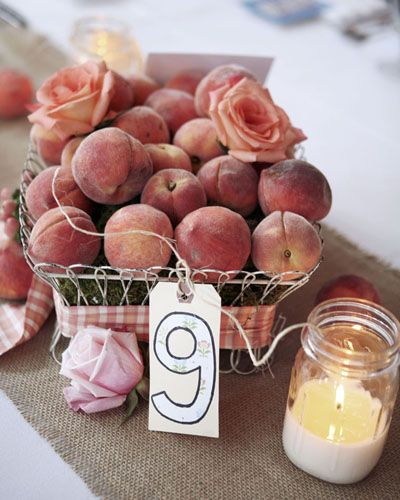 Wedding centerpiece. I would decorate each table a different color fruit or veggie.