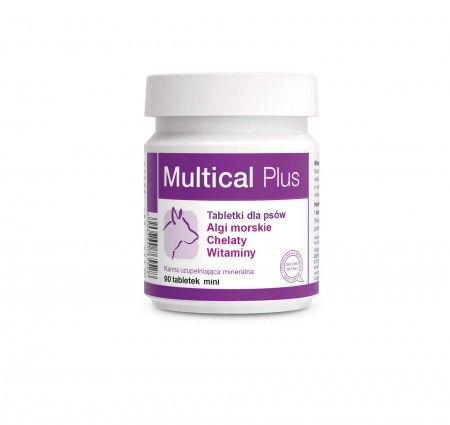 Multical Plus 90 tabletek mini. Multical Plus to preparat witaminowo-mineralno-aminokwasowy wzbogacony o naturalne substancje: algi morskie, tokoferole, prebiotyki - mannanooligosacharydy i beta-glukany. Zawarte w preparacie chelaty zapewniają wysoką biodostępność mikroelementów. Składniki preparatu poprawiają kondycję, wzmacniają odporność, pomagają utrzymać witalność i zdrowie zwierząt.