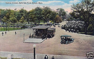 MI-Central Avenue-Trolly-Motorcars-Belle Isle-Detroit Michigan-Collectible