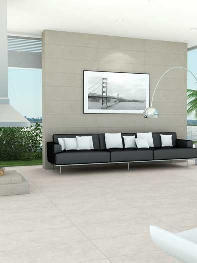 Grey #porcelain tiles in a rectangular module lend effortless elegance to this modern #lounge. #UnionTiles