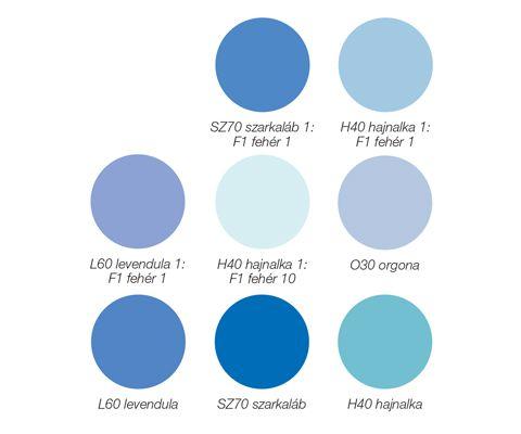 Platinum egyrétegű beltéri falfesték színek, kék árnyalatok: O30 orgona, L60 levendula, SZ70 szarkaláb, H40 hajnalka