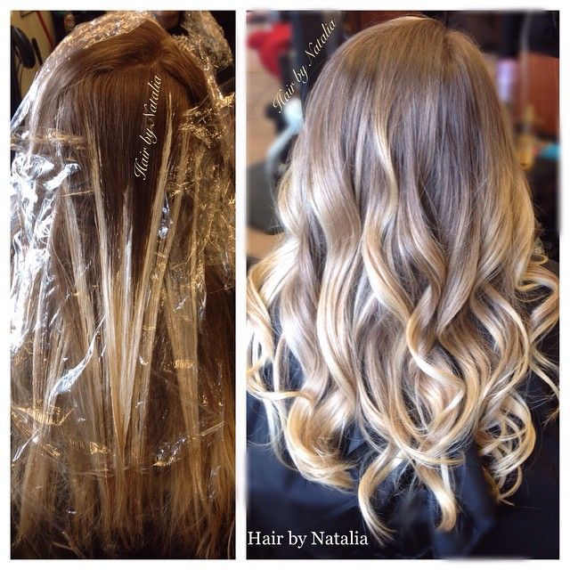 Balayage technique, free hand painting on natural dark blonde hair. balayage\u2026