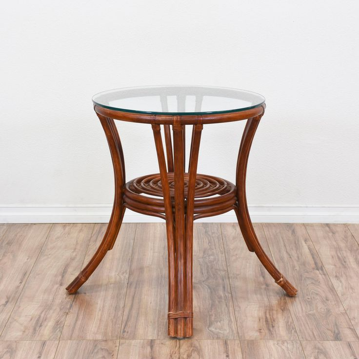 This Tropical Side Table Is Featured In A Durable Rattan With A Glossy  Cherry Finish. This Table Is In Great Condition With A Round Glass Table Top,  ...
