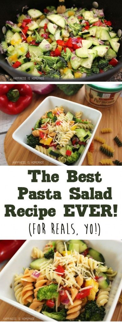 The Best Pasta Salad Recipe EVER ~ Happiness is Homemade // Really want to try this!