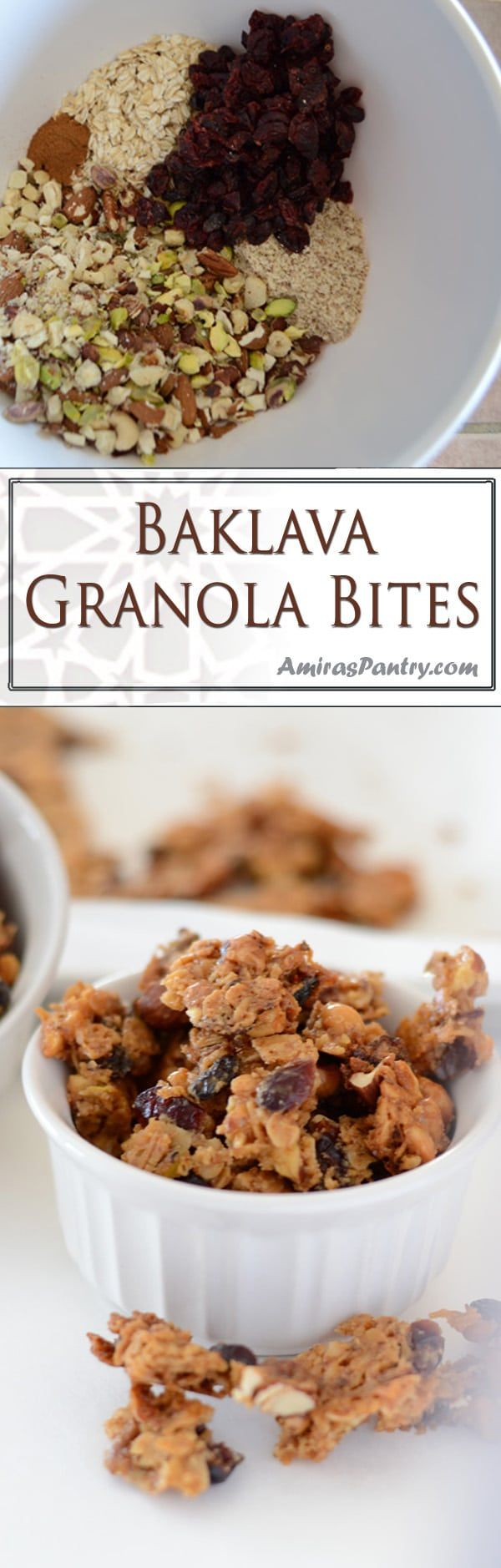 Amazing and highly addicting homemade baklava granola chunks. As nutty and as sweet as the traditional baklava, these granola baklava bites are an easier way to get your baklava fix. #baklavagranola #homemadegranola